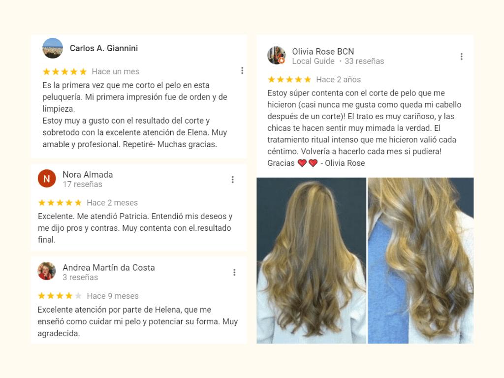 testimonios de clientes en peluquerías de Barcelona