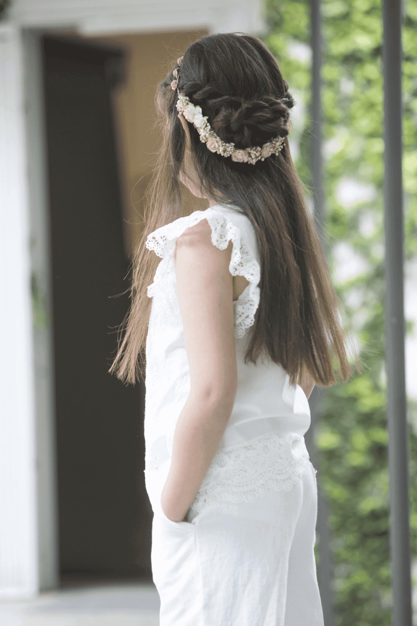 semirecogido trenza para peinado niña primera comunión